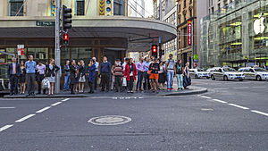 King Street, Sydney - Crossing on King Street. George Street is the street visible on the right.