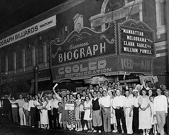 John Dillinger - The crowd at Chicago's Biograph Theater on July 22, 1934, shortly after John Dillinger was killed there by law enforcement officers.