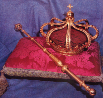 Portuguese Crown Jewels - The Crown of João VI with the Sceptre of the Armillary; Ajuda National Palace.