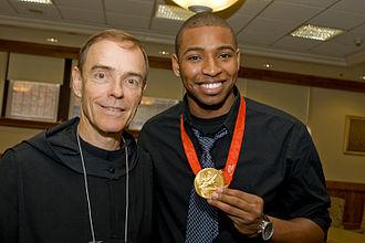 Cullen Jones - Jones at St. Benedict's with Headmaster Fr. Edwin Leahy