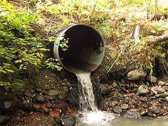 Culvert - Steel corrugated Culvert with a drop on the exhaust end, Northern Vermont