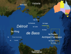 Carte du détroit de Bass.
