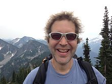 David Baker at the summit of Spark Plug Mountain, Washington, July 31, 2013