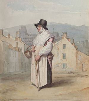 Traditional Welsh costume - A portrait of a Swansea woman in Welsh dress, 1818