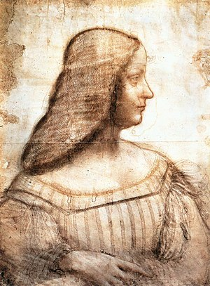 Portrait of Isabella d'Este (Titian) - Drawing of Isabella in her youth for an intended portrait, attributed to Leonardo da Vinci