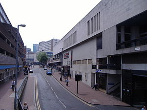 Martineau Galleries - Dale End with the Carling Academy with Priory Square to the right and Dale House and the adjoining multi-storey car park to the left. Both of these buildings will be demolished as part of the development and the road will be removed.