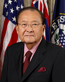Daniel Inouye was a Medal of Honor recipient who served nearly 60 years in elected office as a Democrat. He was the first Japanese-American member of Congress. Daniel Inouye, official Senate photo portrait, 2008.jpg
