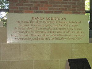Robinson College, Cambridge - Image: David Robinson memorial stone at Robinson College, Cambridge