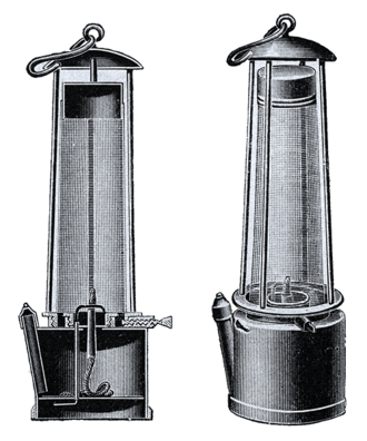 Davy lamp - Diagram of a Davy lamp