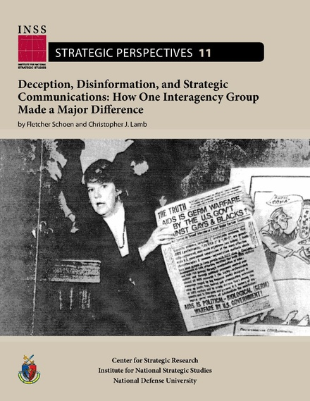 Deception, Disinformation, and Strategic Communications, cover illustrating propaganda from Operation INFEKTION
