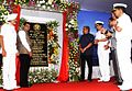 Defence Minister Manohar Parrikar, Maharashtra Chief Minister Devendra Fadnavis, the Chief of the Naval Staff Admiral RK Dhowan and other dignitaries at the undocking of INS Kalvari.JPG