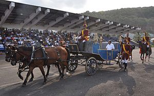 Indian Naval Academy - Defence Minister A. K. Antony arrives at INA in a horse-drawn carriage.