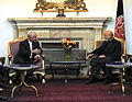 Defense.gov News Photo 101208-F-6655M-028 - Secretary of Defense Robert M. Gates talks with Afghan President Hamid Karzai in the Presidential Palace in Kabul, Afghanistan, on Dec. 8, 2010.jpg