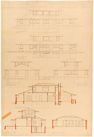 Marion Mahony Griffin - Design for Suburban Residence Exhibit plan 2