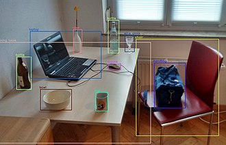 Object detection - Objects detected with OpenCV's Deep Neural Network module (dnn) by using a YOLOv3 model trained on COCO dataset capable of detecting 80 common objects.