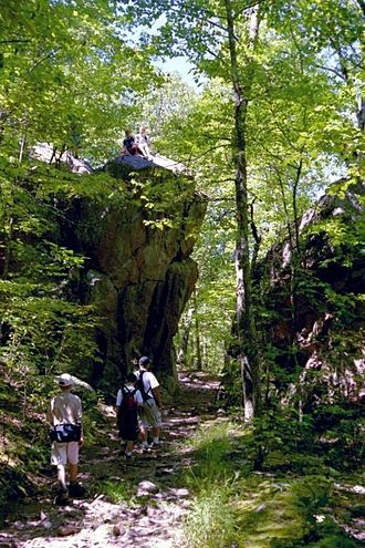 Ozark Trail (hiking trail) - The trail passes through the Devil's Tollgate formation below Taum Sauk Mountain.