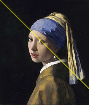 Diagonal method - Example using Vermeer's Girl with a Pearl Earring. The yellow diagonal line intersects two main points of interest: the girl's left eye and the pearl earring.
