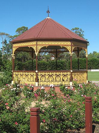 Rose garden - 1905 Dickie bandstand in Nieuwesteeg Heritage Rose Garden, Bacchus Marsch, Victoria