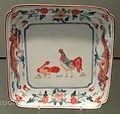 Dish with Rooster Design, c. 1700-1710, Arita, hard-paste porcelain with overglaze enamels - Gardiner Museum, Toronto - DSC00627.JPG