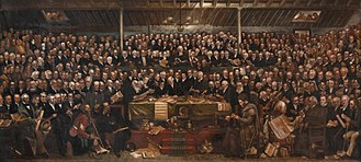 Scotland in the modern era - The Disruption Assembly of 1843, painted by David Octavius Hill