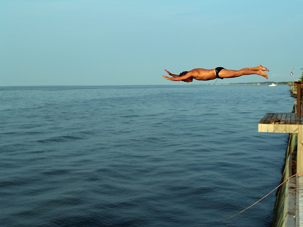 Diving off a deck into the Great South Bay of Long Island