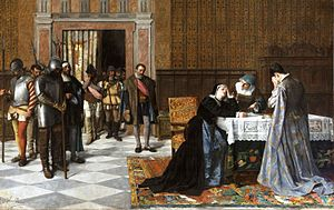A woman rests her head in her hand while sitting at a table; a knight in armor and others stand by having told her the bad news.