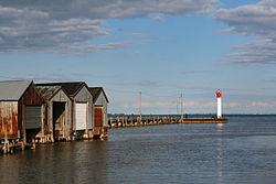 Lighthouse and docks in Port Rowan.