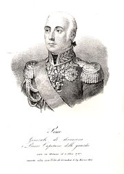 Black and white print of a white-haired man in an early 1800s military uniform. He wears a high collared coat with epaulettes and a large amount of gold braid.