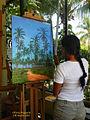 Dominican Republic artist Olivia Peguero in the Studio with my latest artwork 2015.jpg