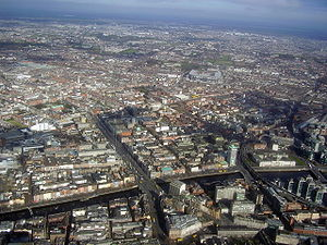 Northside, Dublin - Aerial view of Dublin's Northside, with O'Connell Street in the left-foreground, Croke Park in the centre-middleground and Clontarf and Portmarnock in the background