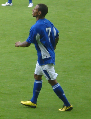 DJ Campbell - Campbell playing for Leicester City against Oxford United in a pre-season friendly, 24 July 2010