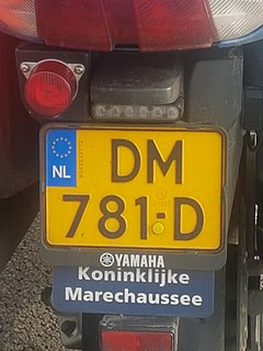 Dutch license plate of the KMAR (Military police) motorcycle.jpg