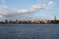 View of Ełk across lake
