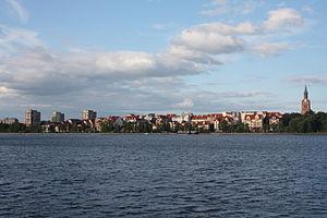 Ełk - View of Ełk across the Ełk Lake