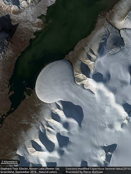 File:Earth from Space Elephant Foot Glacier, Romer Lake, Greenland (31489912472).jpg
