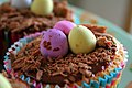 Easter cupcake with chocolate eggs, March 2008.jpg