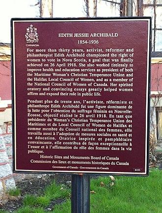 Edith Archibald - Edith Archibald Plaque, George Wright House Property, Halifax, Nova Scotia