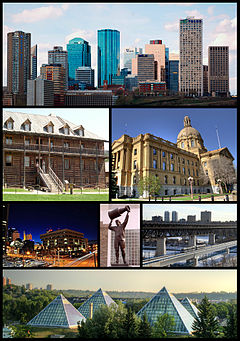 From top left: Downtown Edmonton, Fort Edmonton Park, Legislature Building, Law Courts, Northlands Coliseum, High Level Bridge, Muttart Conservatory
