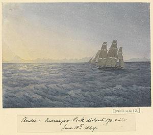 Edward Gennys Fanshawe, Andes, Aconcagua Peak distant 170 miles, June 18th 1849.jpg