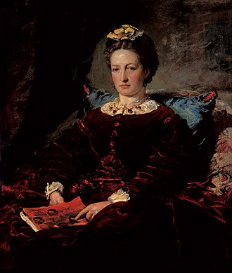 Cornhill Magazine - John Everett Millais's wife Effie Gray holding a copy of the Cornhill Magazine.