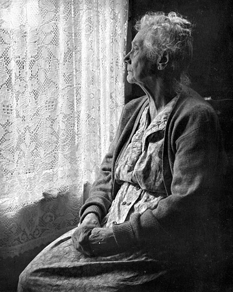 File:Elderly Woman, B&W image by Chalmers Butterfield.jpg