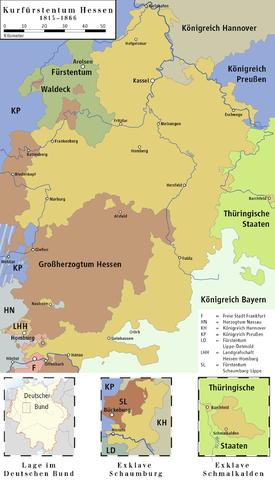 Kurhessen with the regions of Schmalkalden and Schaumburg 1815–1866