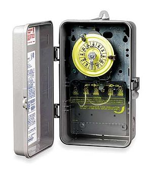 Open-loop controller - An electromechanical timer, normally used for open-loop control based purely on a timing sequence, with no feedback from the process.