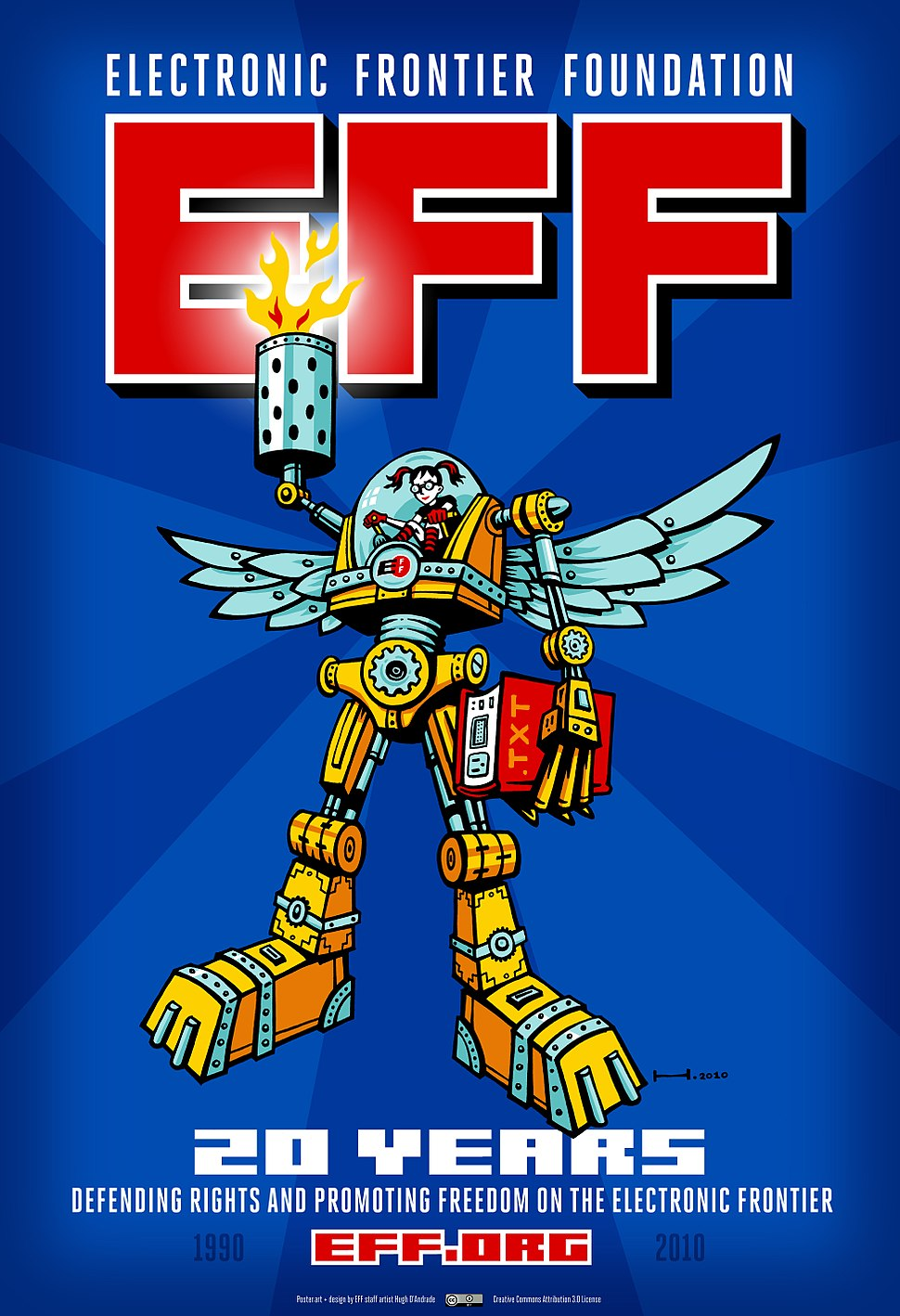 Electronic Frontier Foundation 20th anniversary mecha poster