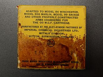 Kynoch - Eley-Kynoch consumer packaging for .30/30 center fire rifle cartridges (back, deteriorated)