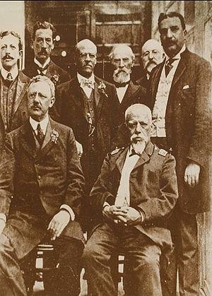 The Citizens' Revolution - 1908: first row, Archer Harman and Eloy Alfaro; second: Alfredo Monge, Crnel. Belisario Torres, Dr. César Borja Lavayen, Gral. Francisco Hipólito Moncayo, William Fox and Amalio Puga