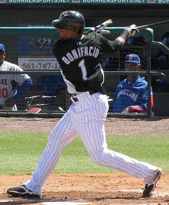 Emilio Bonifacio - Bonifacio batting for the Florida Marlins in 2009 spring training