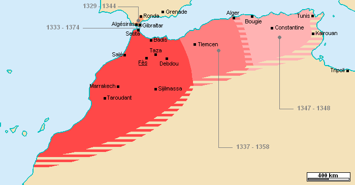 The Marinid realm at its maximal extent (1347–1348)
