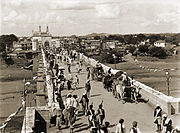 Puranapul, the entrance to the city of Hyderabad, as photographed by Lala Deen Dayal in the 1880s