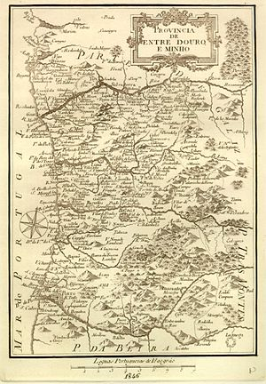 Entre-Douro-e-Minho Province - Map of Entre Douro e Minho from 1846